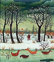 V. Mileck (1968) - 'Huntsmen' Oil on canvas, signe