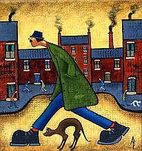 Albert Barlow (British, b.1944) - 'Walking the Dog