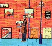 G. Bradley (1974) - 'Street Artist' Oil on board,