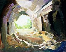 Isobel Barber FRSA (1914-2001) - 'Cave' Oil on boa