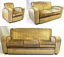 Art Deco three piece lounge suite Comprising an ar