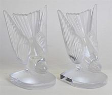 A pair of Lalique France frosted and clear glass b