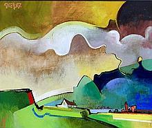 Geoffrey Key (Manchester, b. 1941)- 'White Farm an