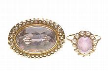 An amethyst and seed pearl brooch and matched ring The oval mixed-cut ameth
