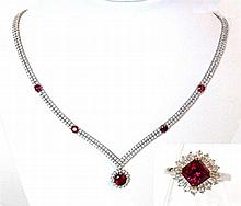 Carat* London: A simulated diamond and simulated ruby necklace and ring The