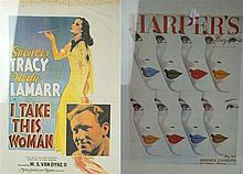 Two Vintage colour posters For 'I Take This Woman' featuring Spencer Tracy