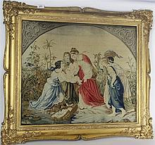 A Victorian wool work needlepoint picture panel Depicting a biblical scene