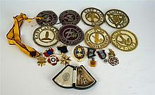 A Masonic silver gilt and enamel past masters jewel By G. Kenning & Son, de