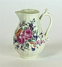 An 18th Century Worcester hand painted sparrow beak jug   Of baluster form,