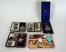 A cased silver gilt and enamel Cheshire past masters jewel By G. Kenning