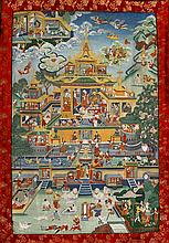 A Tibetan 'Padmasambhava in his pure world' Thangka, 19th Century  The beau