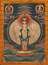 A Tibetan 'Chenrezig Avalokiteshvara' Thangka, 19th Century  The thangka wi