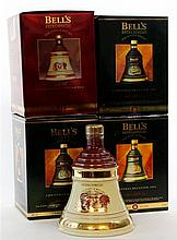 4 bottles Bells Whisky Christmas Decanters 1993 - 1996 incl.