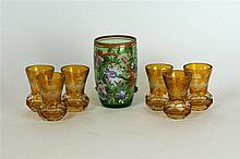 An early 20th Century Bohemian tankard Hand painted with floral decoration,