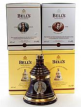4 bottles Bells Whisky Christmas Decanters 2002 - 2005 incl.