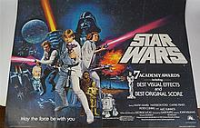 Star Wars Part IV original movie poster 'A New Hope' with academy awards ar