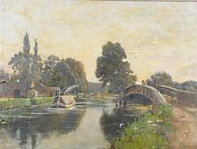 British School, early 20th Century ''Horse Drawn Barge'' Indistinctly signe
