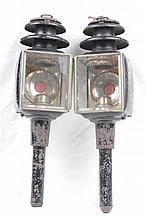 A pair of Victorian horse drawn trap lamps Each of typical form with silver