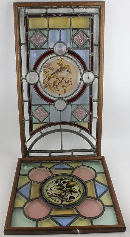 a framed stained glass panel early 20th century the central