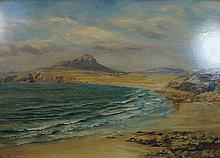 John Brett (1831-1902) - 'Coastal Landscape' Oil on board, signed, inscribe