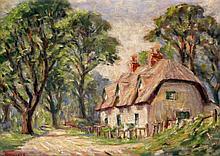 Harold Bennett (British, 20th Century) - 'Woodland Cottage' Oil on panel, s