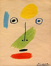 After Pablo Picasso (Spanish, 1881-1973)- 'Abstract face' Colour lithograph