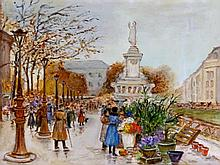 French School (20th Century)- 'Parisian flower market' oil on panel, approx