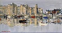 Charles Wyatt Warren (Welsh, 1908-1993)- 'Caernarfon Castle' Thick impasto