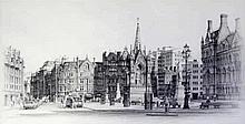 Marc Grimshaw (British, b.1957) - 'Albert Square, Manchester' Pencil drawin