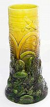 Arts & Crafts Bretby Art pottery cylindrical stick stand  Relief decorated