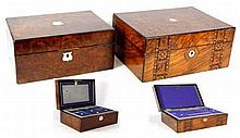 Two 19th Century burr walnut sewing boxes The first inlaid with satinwood c