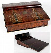 A Victorian inlaid burr walnut writing box The sloped front box with overha