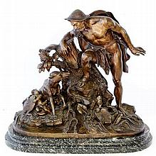 French bronze figural group, late 19th Century Depicting Faustulus discover