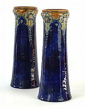 A pair of Royal Doulton stoneware vases, circa 1900 Of splayed cylindrical
