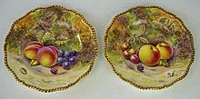 A pair of Royal Worcester fruit painted plates, post war, painted by H. Hen