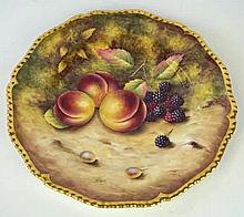 A Royal Worcester fruit painted cabinet plate, post war Painted by Terry Nu