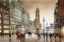 Steven Scholes (British, b.1952) - 'Oxford Street, Manchester 1928' Oil on