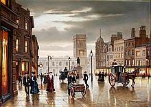 Steven Scholes (British, b.1952) - 'St Annes Square, Manchester 1908' Oil o