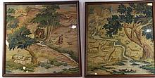 A pair of embroidered and woolwork panels, circa 1900 Each depicting biblic