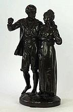 A bronze figure group of Paul and Virginia, Albert-Ernest carrier-belleuse