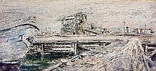 Beckerley (20th/21st Century)- 'The docks' Thick impasto oil on board, sign