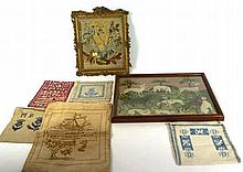 A mixed collection of 19th Century needlework embroidery and samplers To in