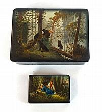 Two 20th Century Russian lacquered boxes Each of rectangular form, the hing