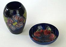 Two pieces of Walter Moorcroft  To include vase of ovoid form decorated in