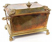 Arts & Crafts circa 1900 rectangular log box and cover Having four corner r