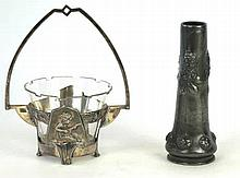 An Art Nouveau WMF silver-plate and cut glass swing handle bowl Relief deco