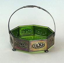 A WMF silver-plated octagonal basket Having pierced and relief decoration o