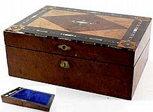 A Victorian inlaid burr walnut stationery box Of rectangular form, the hing
