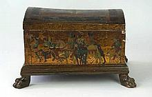 A late 19th/early 20th Century painted casket The rectangular form box with