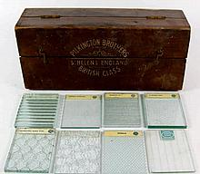 An unusual boxed collection of Pilkington Bros glass samples, circa 1930 Th